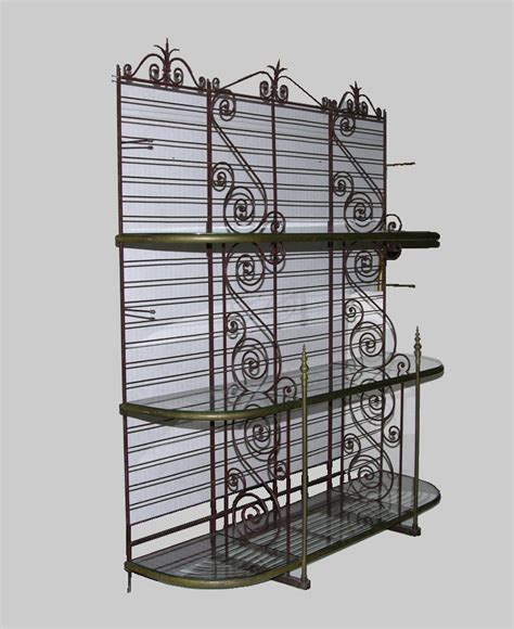 wrought iron bakers rack antique wrought iron bakers rack ca 1900 s 03