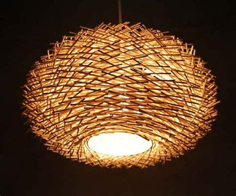 staggered form natural rattan birds nest pendant light