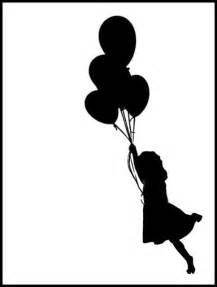 Little Girl with Balloons Silhouette