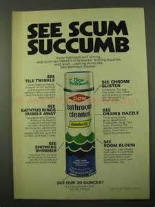 1971 dow bathroom cleaner ad see scum succumb