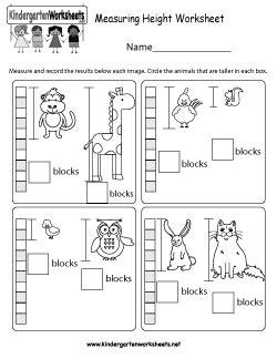 free kindergarten measurement worksheets length