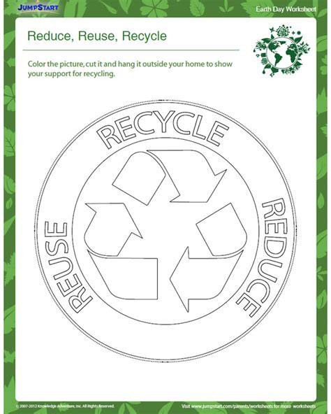 reduce reuse recycle printable kids earth day jumpstart
