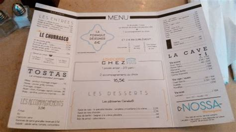 cuisine portugaise en carte du restaurant photo de nossa churrasqueira