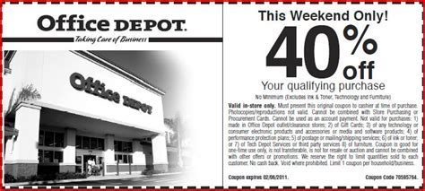 Office Depot Coupons For Printer Ink by 40 Office Depot A Thrifty Recipes Crafts