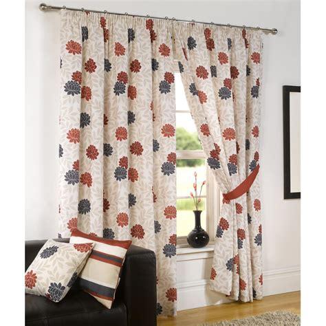 modern floral print pencil pleat curtains black