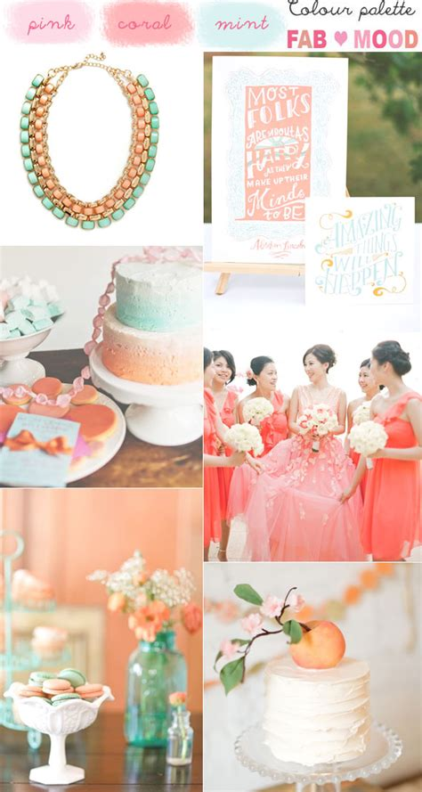 coral mint wedding colors coral pink mint wedding palette