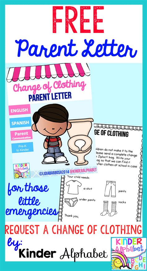 change of clothing parent letter for and spills hoppin back to school freebies 86744