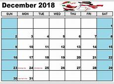Printable December 2018 Calendar Cute Seven Photo