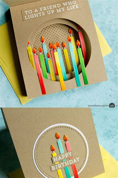 A tutorial about how to make homemade birthday cards. Inside Tunnel Cards - Jennifer McGuire Ink   Handmade birthday cards, Birthday cards diy ...