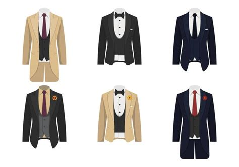 Collection Of Tuxedo Suit Vector Illustration