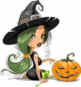Pretty Witch with Halloween Vector Illustration Free Vector Graphics All Free Web Resources