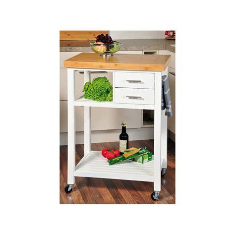 dessertes de cuisine desserte de cuisine en bois blanc avec roulettes meuble