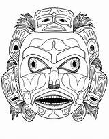 Native Coloring Indian American Mask Pages Head Bear Kwakiutl Drawing Spirit Adult Template Printable Drawings Justcolor Getdrawings Masks Books Colorful sketch template