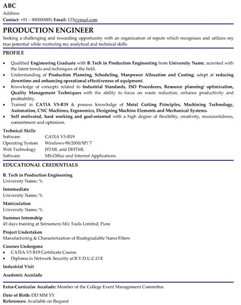 cv format for mechanical engineer fresher production engineer professional resume sles