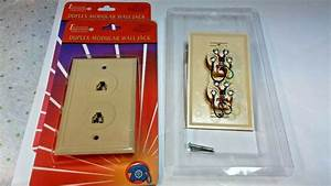 Phone Jack Duplex Wall Mount Plate 2 Telephone Outlet 4