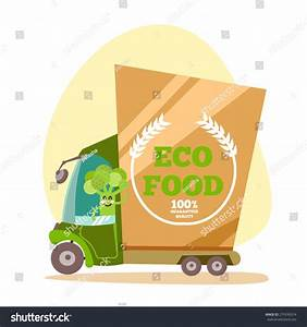 Cartoon Green Eco Food Delivery Truck Stock Vector ...