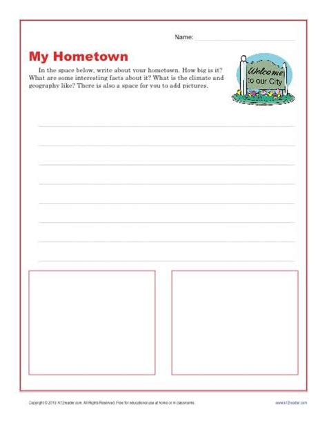 my hometown descriptive writing prompt for 3rd and 4th grade