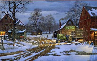 Farm Winter Desktop Snow Tractor Wallpapersafari