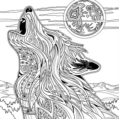 printable color pages for adults wolf for coloring pages printable