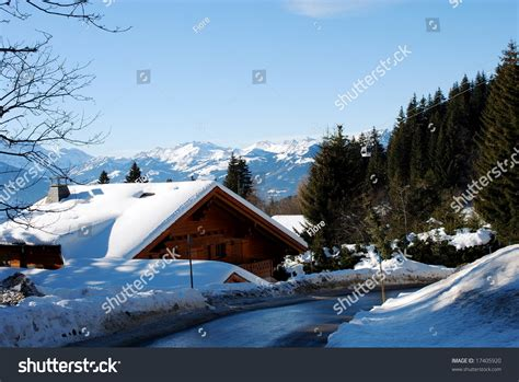 chalet in swiss alps stock photo 17405920