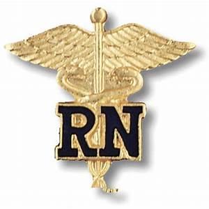 RN Caduceus Lapel Pin Registered Nurse Blue Letters ...
