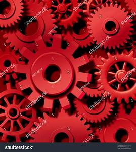 Cogs Gears Motion Red Background Team Stock Illustration ...