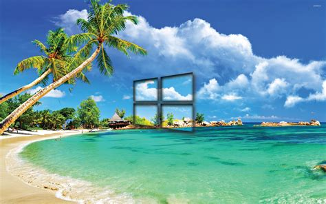 Can You Animated Wallpapers On Windows 10 - windows 10 transparent logo on a tropical wallpaper