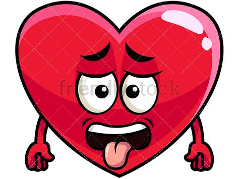 Disgusted Heart Emoji Cartoon Vector Clipart