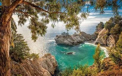 California Nature Coast Landscape Waterfall Trees Coves