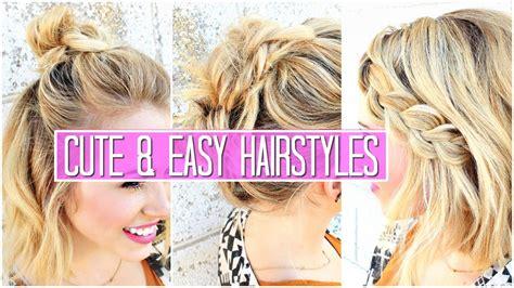 easy hairstyles  short medium hair tutorial cute girls hairstyles buns youtube