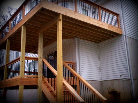 Two Story Deck Ideas by Deck Builders Chesterfield Mo Platform Or Elevated Decks