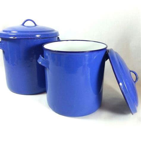 retro kitchen storage containers antique blue enamel canisters w lids 2 cornflower blue 4818