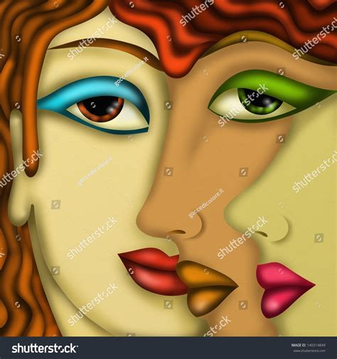 abstract design womens faces stock illustration