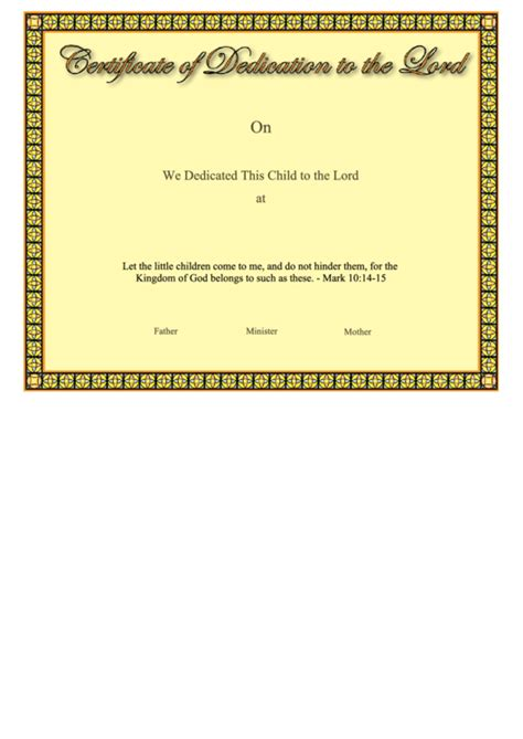 certificate  dedication   lord printable