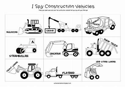 Construction Vehicles Spy Printable Coloring Road Trip