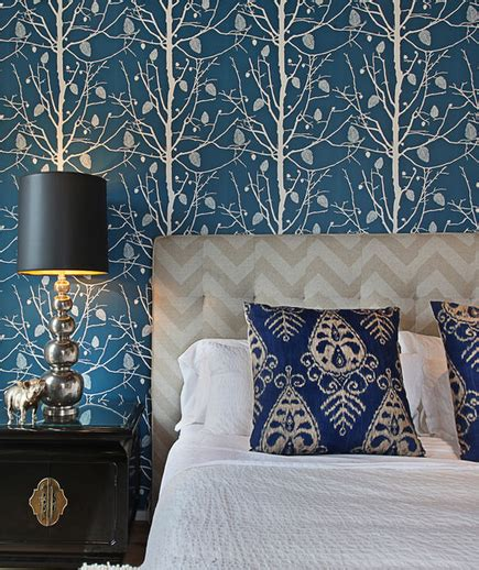 Tapete Blau Schlafzimmer by Chevron Headboard Contemporary Bedroom Turquoise La