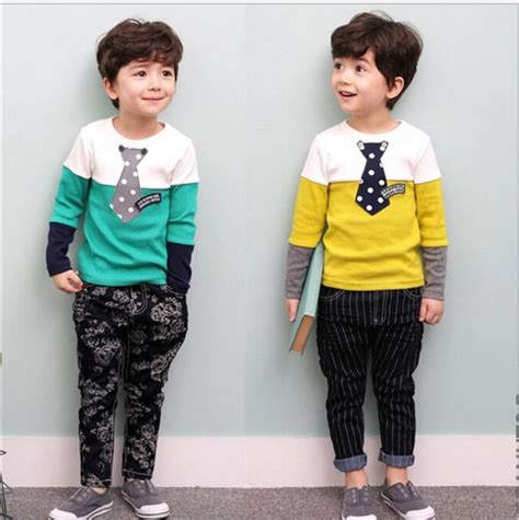 2017 Fashion Boys Casual Sets Outfits 2016 Autumn Children Long Sleeve Color Matching Gentleman ...