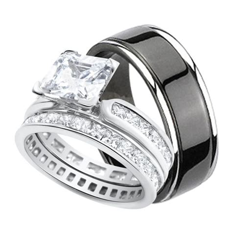 his and hers wedding ring set black titanium silver bands