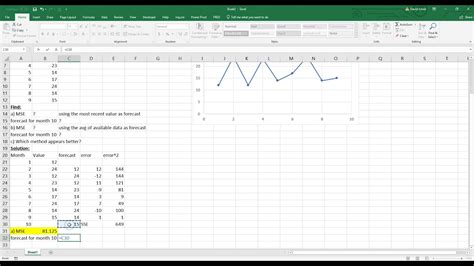 calculate mse  excel  diagnose forecast accuracy youtube