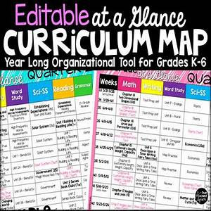 Curriculum map template editable at a glance organizer by for Year at a glance template for teachers