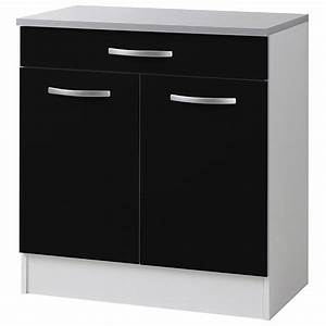 Meuble Bas 2 Portes : meuble bas 2 portes 1 tiroirs 80cm smarty noir ~ Dallasstarsshop.com Idées de Décoration
