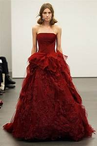 vera wang red strapless wedding dress with a line silhouette With wedding dress red