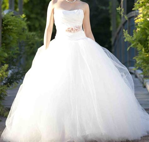 Vera Wang Ball Gown With Asymmetrically Draped Bodice
