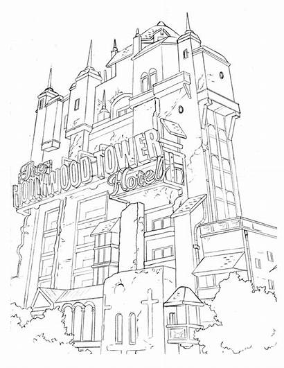 Tower Terror Coloring Hollywood Portland Pages Sign