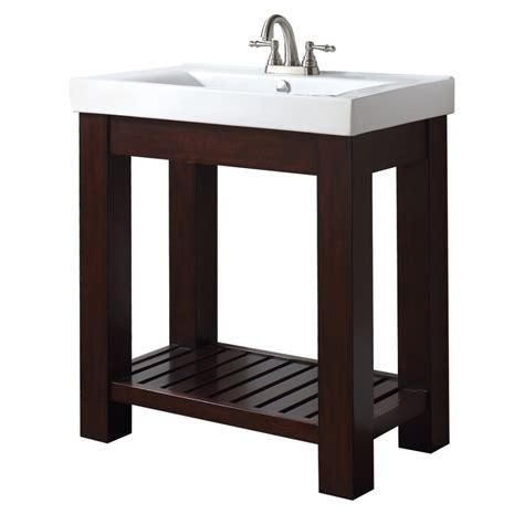 concrete trough sink 31 inch single bathroom vanity with open shelf