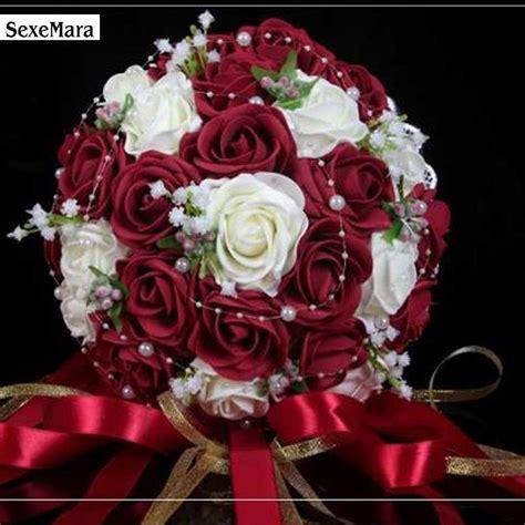 fashion cheap burgundy wedding bouquet pinkredwhite