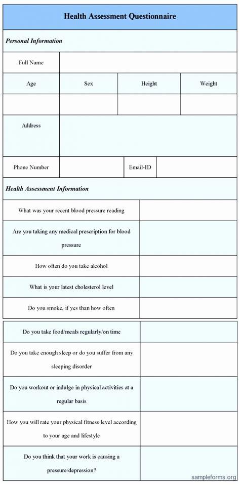 12 Health Risk Assessment Questionnaire Template Taiai