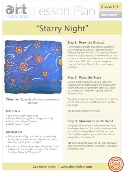 Starry Night Free Lesson Plan Download  The Art Of Ed