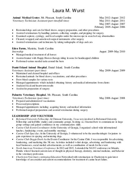 100 vet tech resume moa format assistant