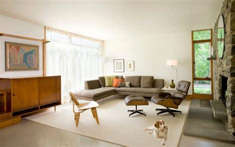 midcentury update modern living room boston